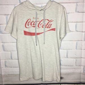 Heather Grey Coke Cola Short Sleeve Hoodie